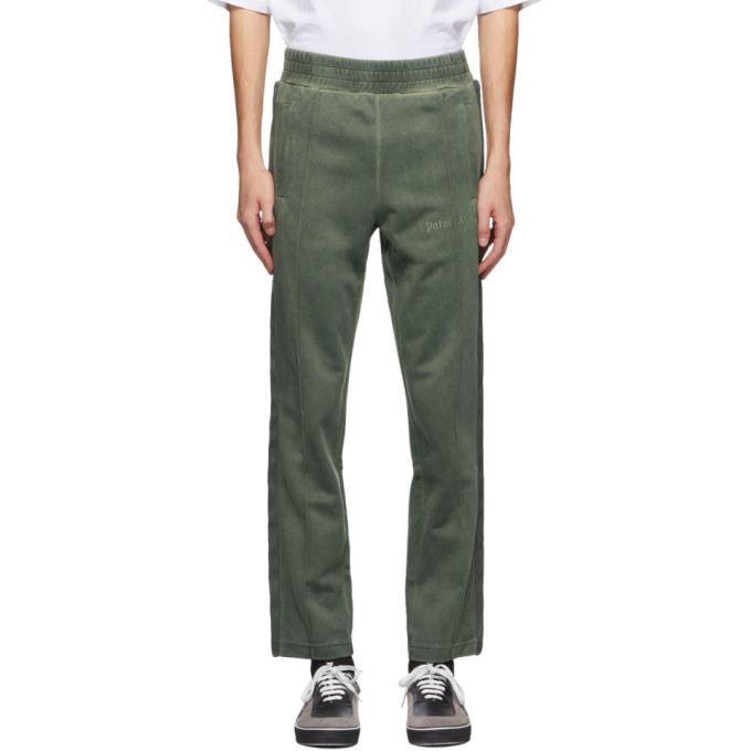 Palm Angels Green Garment-dyed Jersey Trackpants In Forest Gree