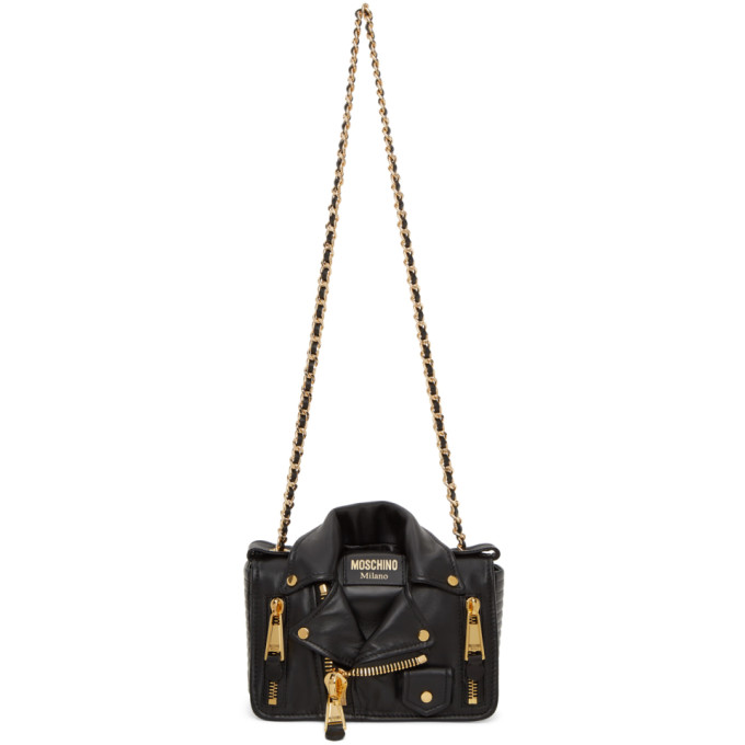 Moschino Biker Black Bag Featuring Golden Details In A1555 Black