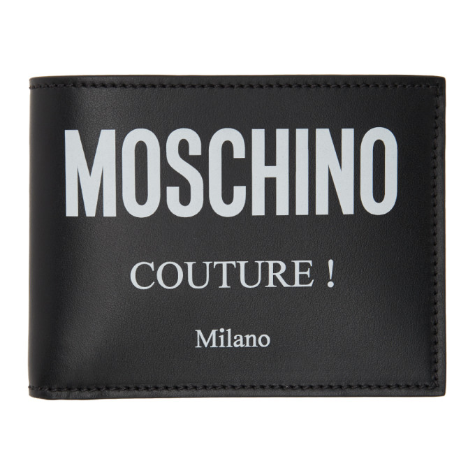 MOSCHINO BLACK 'COUTURE!' BIFOLD WALLET
