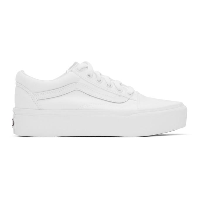 Vans Classic Old Skool Platform Triple White Sneakers In True White