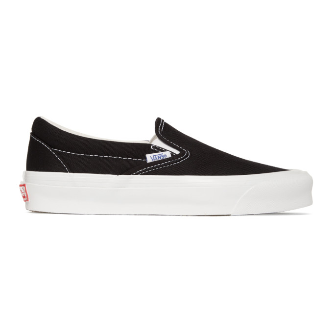 Vans Black Og Classic Lx Slip-on Sneakers In Blk