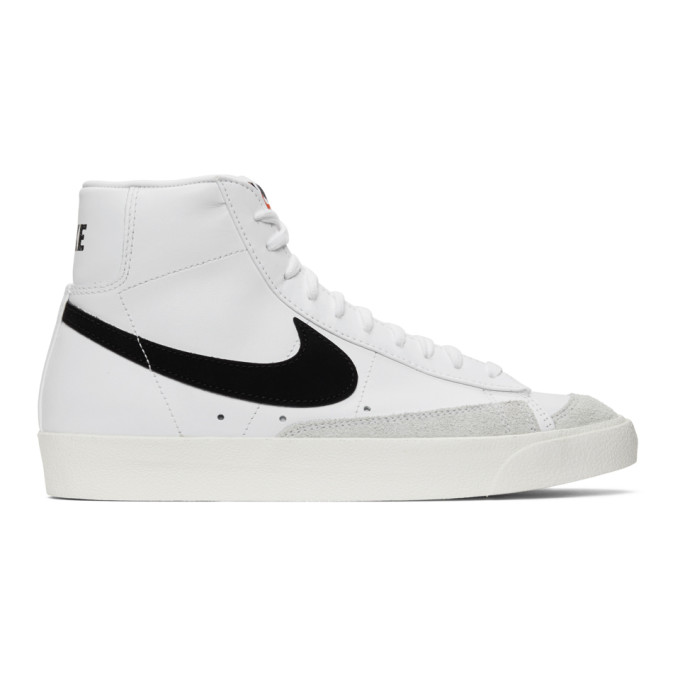 Nike High 'blazer Mid 77' Vintage White Black Sneakers In 100whitebla