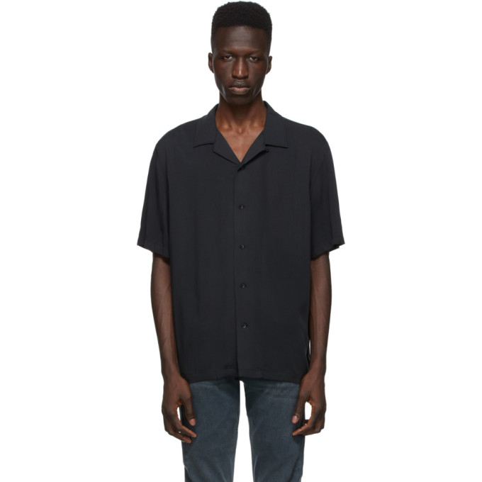 Rag & Bone Avery Cuban-collar Poplin Shirt In Black