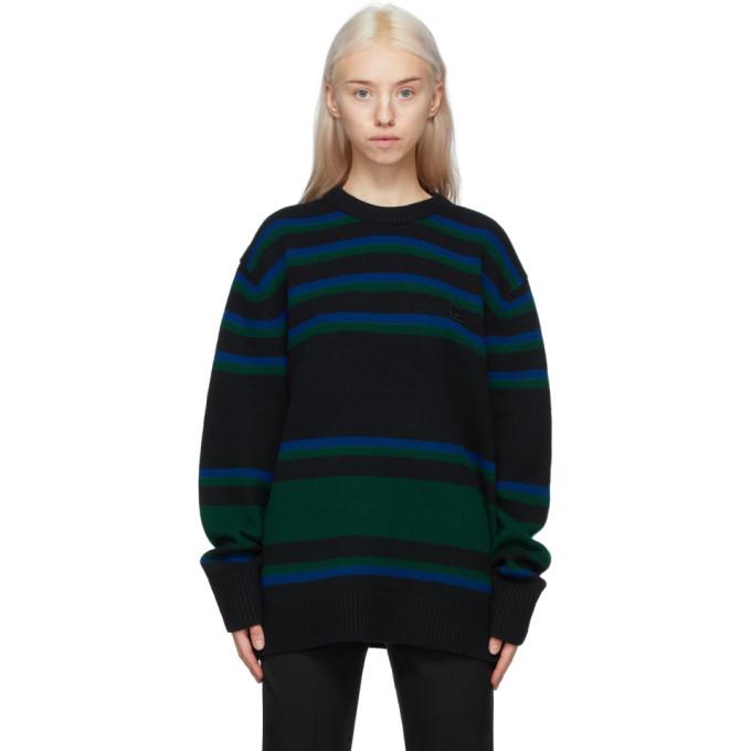 Acne Studios Black & Blue Striped Wool Sweater In Ahj Blackbl