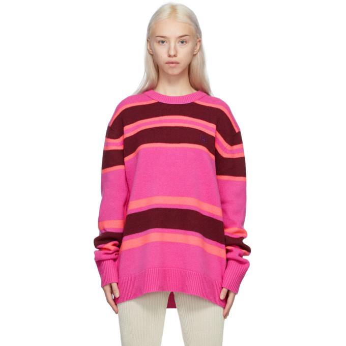 Acne Studios Striped Sweater Pink/burgundy In Ag2 Pinkbur