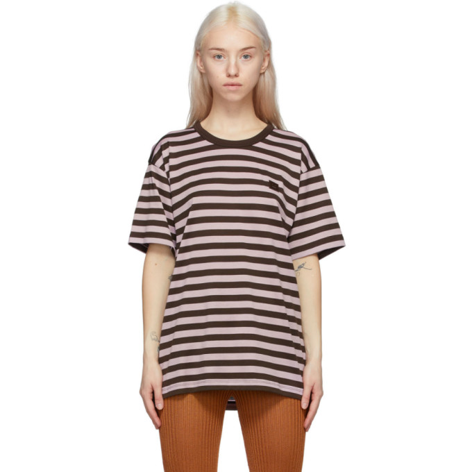 Acne Studios Striped Logo T-shirt Lilac Purple In Adi Lilac