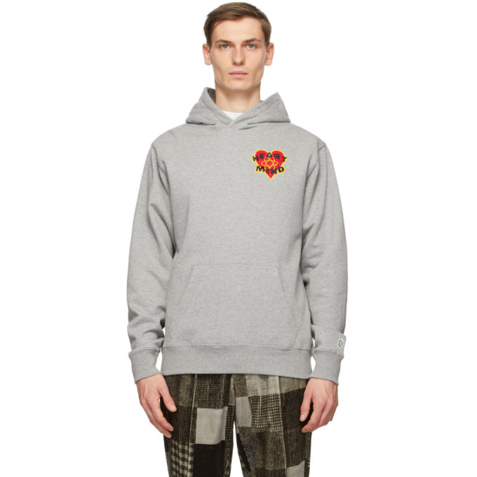 Billionaire Boys Club Heart & Mind Appliquéd Mélange Loopback Cotton-jersey Hoodie In H Grey