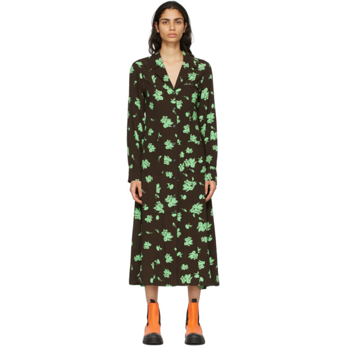 Ganni Printed Crepe Long L/s Dress In 897 Mole