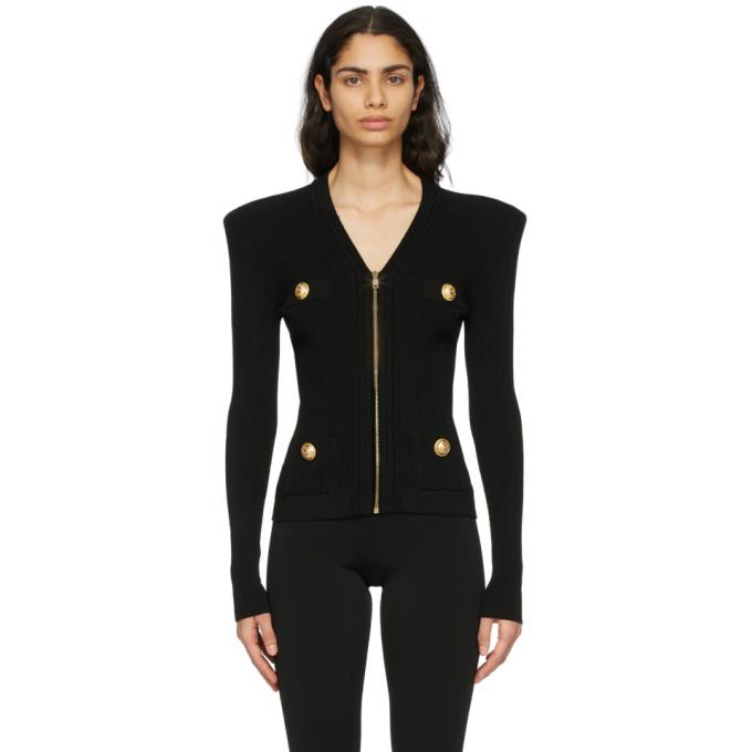 Balmain Button-embellished Ribbed-knit Cardigan In 0pa Black