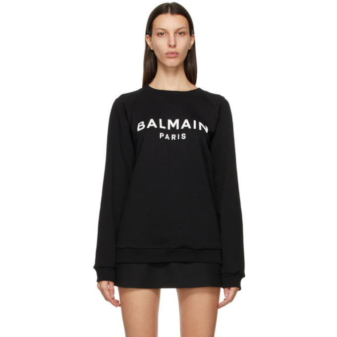 Balmain Teen Gemstone-embellished Cotton Sweatshirt In Eab Blk/wh