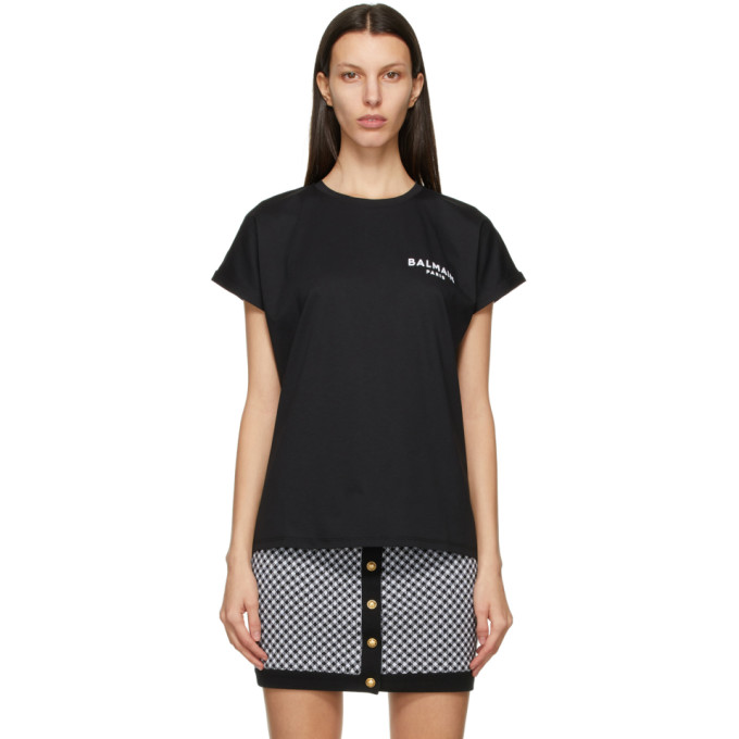 Balmain Jersey Tee With Logo In Eab Blk/wh