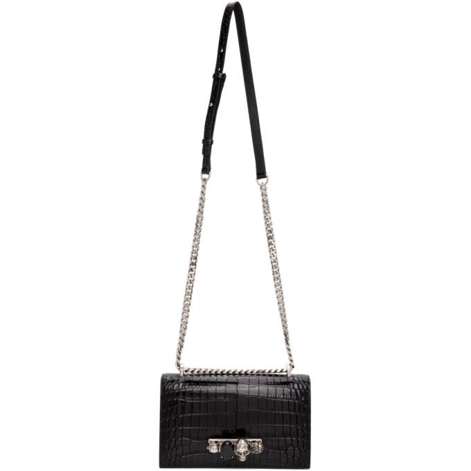 Alexander Mcqueen Women's The Mini Croc-embossed Jewelled Leather Satchel In 1001 Black