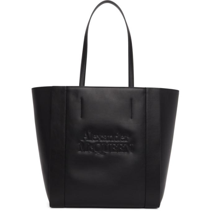 Alexander Mcqueen Signature Shopper Leather Tote Bag In Black