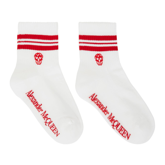 Alexander Mcqueen ALEXANDER MCQUEEN WHITE AND RED STRIPE SKULL SPORT SHORT SOCKS