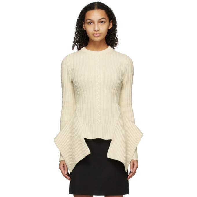 Alexander Mcqueen Asymmetric Ribbed And Cable-knit Wool And Cashmere-blend Sweater In White