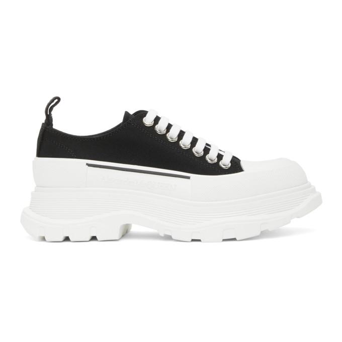 Alexander Mcqueen Black Canvas Tread Slick Platform Low Sneakers In Black/white