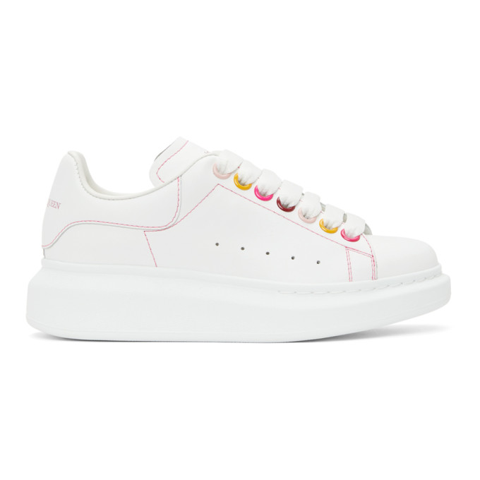 Alexander Mcqueen Oversized Raised-sole Leather Trainers In 9466 White
