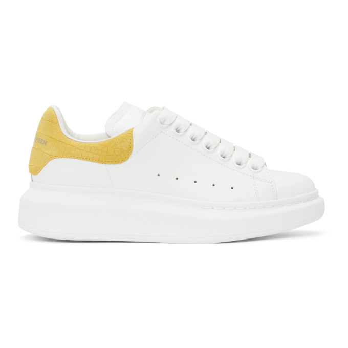 Alexander Mcqueen Oversized Sneakers In White And Yellow In 9718 Mimosa