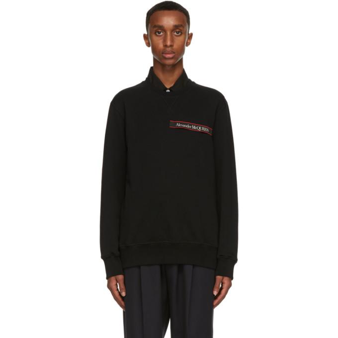 Alexander Mcqueen Logo-tape Loopback Cotton-jersey Sweatshirt In Black