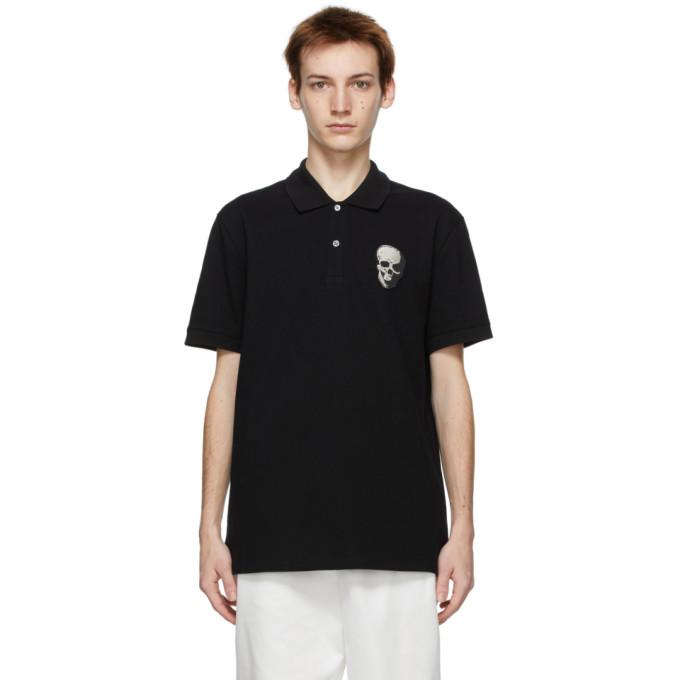 Alexander Mcqueen Skull Patch Cotton Polo Shirt In 1000 Black