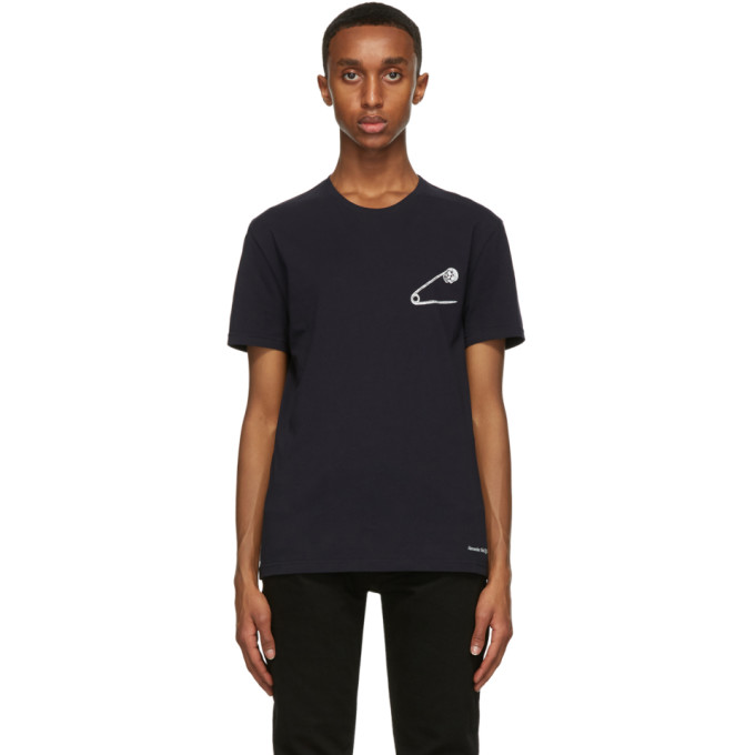 Alexander Mcqueen Navy Safety Pin Skull T-shirt In 0903 Navy/mix