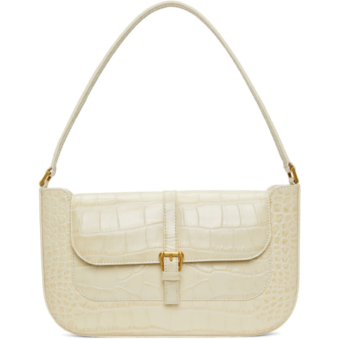 By Far Miranda Crocodile-effect Leather Shoulder Bag In Beige