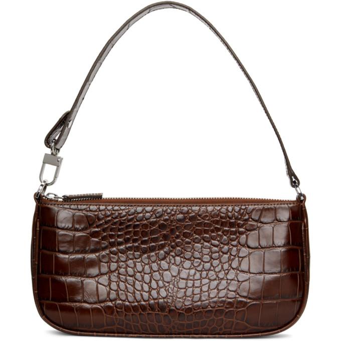 By Far Brown Croc Rachel Shoulder Bag In Ne Nutella