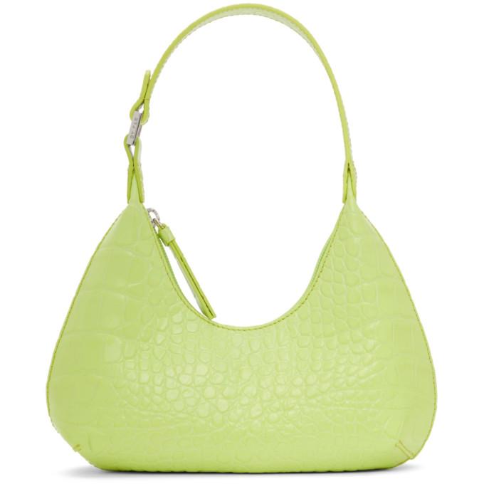 By Far Green Baby Amber Mock Croc Leather Shoulder Shoulder Bag In Mtc Matcha