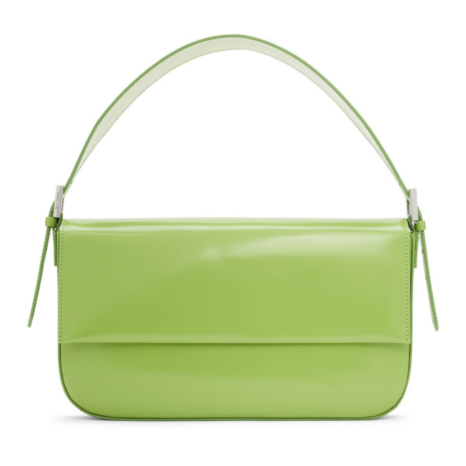 By Far Green Patent Manu Shoulder Bag In Mtc Matcha