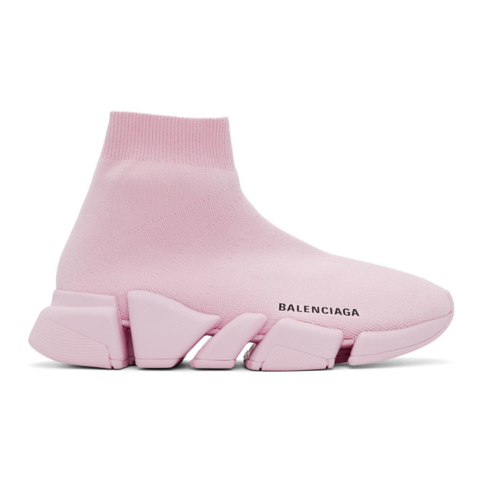 Balenciaga Speed 2.0 Ribbed Stretch-knit High-top Sneakers In Pink
