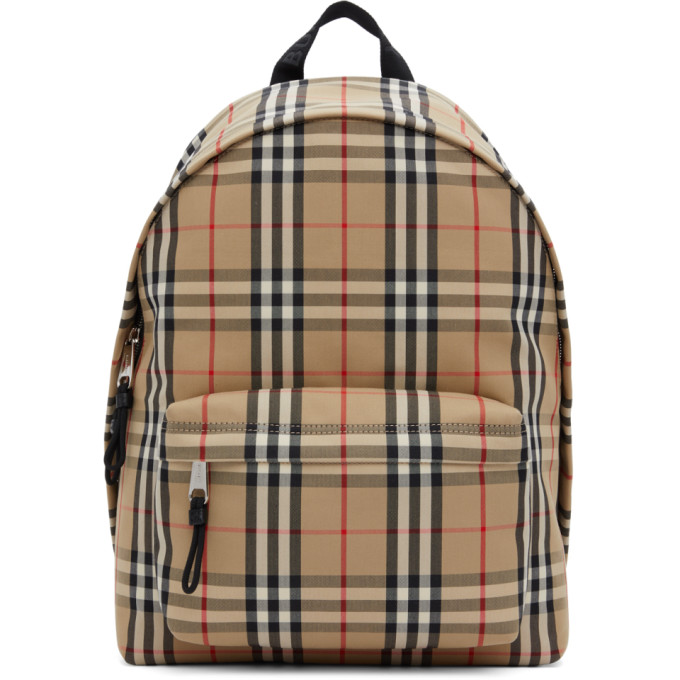 Burberry Beige Vintage Check Cotton Backpack In Beige A7028
