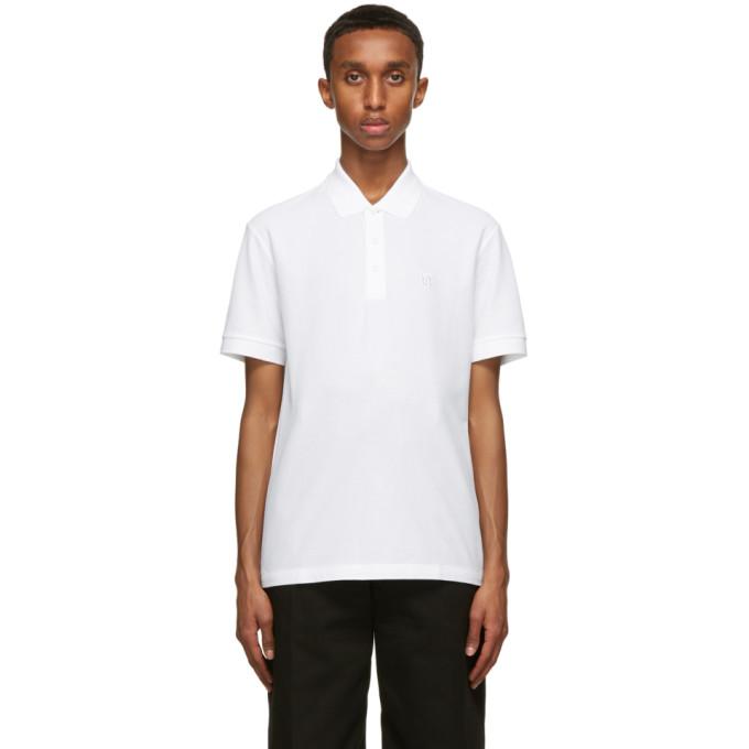 Burberry Eddie Logo-embroidered Cotton-piqué Polo Shirt In White