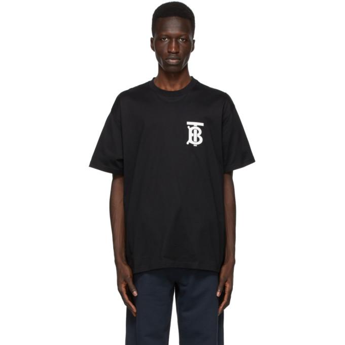 Burberry Monogram Motif Cotton Oversized T-shirt In Black