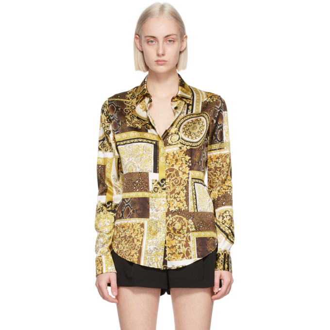 Versace Brown & Gold Silk Barocco Patchwork Shirt In 5n030 Gold