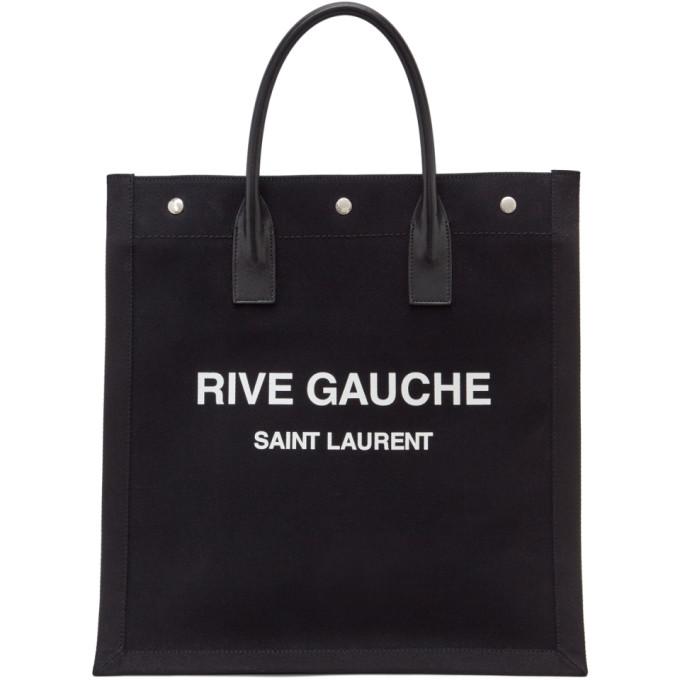 SAINT LAURENT BLACK 'RIVE GAUCHE' SHOPPING TOTE