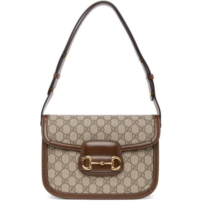 Gucci 1955 Horsebit Gg Supreme & Leather Bag In Gg Supreme Canvas