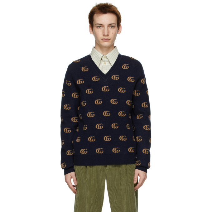Gucci GUCCI NAVY JACQUARD DOUBLE G V-NECK SWEATER