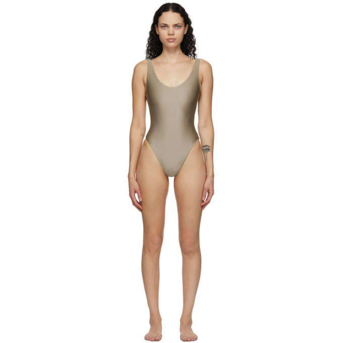 Jade Swim Taupe Contour One-piece Swimsuit In Taupe Sheen