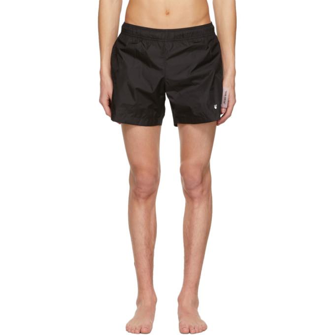 Off-white Black Nylon Logo Swim Shorts In Black White