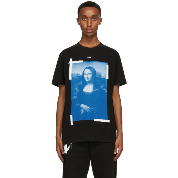 Off-white Black Man T-shirt With Monalisa Graphic Print In Black White