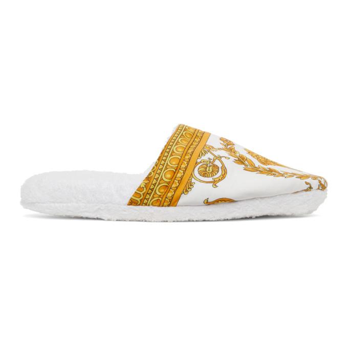 Versace Women's Barocco Cotton Slippers In White