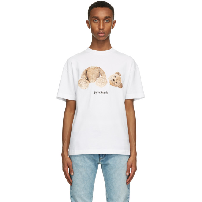 Palm Angels Bear Print Over Cotton Jersey T-shirt In White/brown