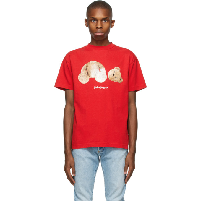 Palm Angels Bear Printed Cotton T-shirt In Red/brown