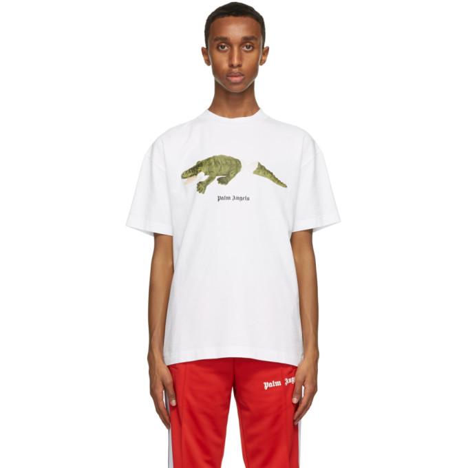 Palm Angels Men's Short Sleeve T-shirt Crew Neckline Jumper Crocodile In White