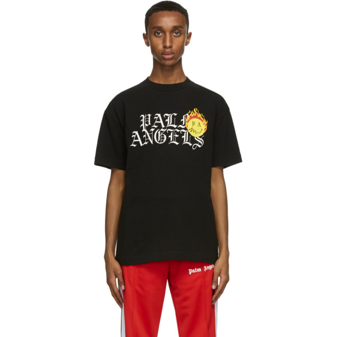Palm Angels X Smiley Burning Head Printed Cotton T-shirt In Black/yello