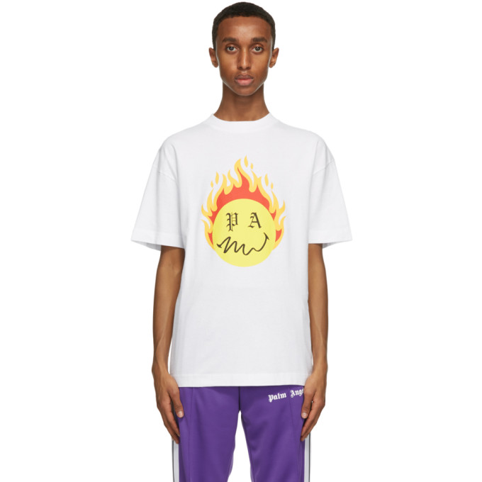 Palm Angels X Smiley Burning Head Printed Cotton T-shirt In White/yello
