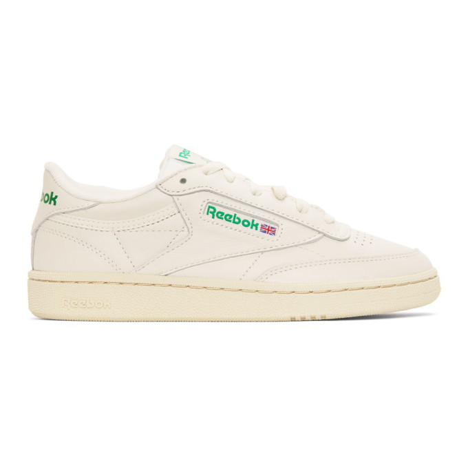 Reebok Classic Club C Vintage Sneakers In Chalk With Green-white In Chalk Green
