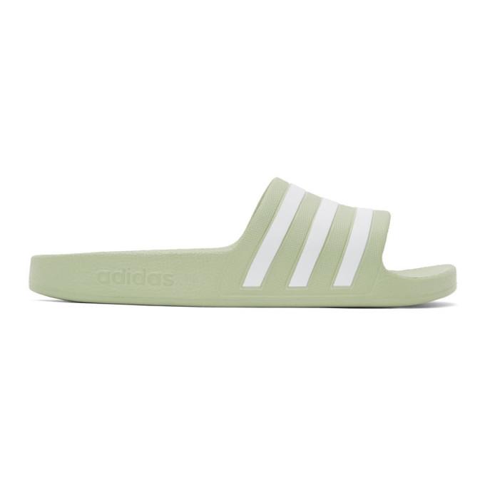 Adidas Originals ADIDAS ORIGINALS GREEN AND WHITE ADILETTE SLIDES