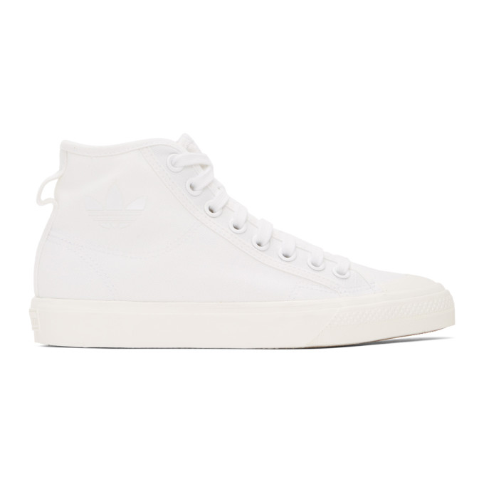 Adidas Originals Nizza High Top Sneakers In Off White Leather-navy