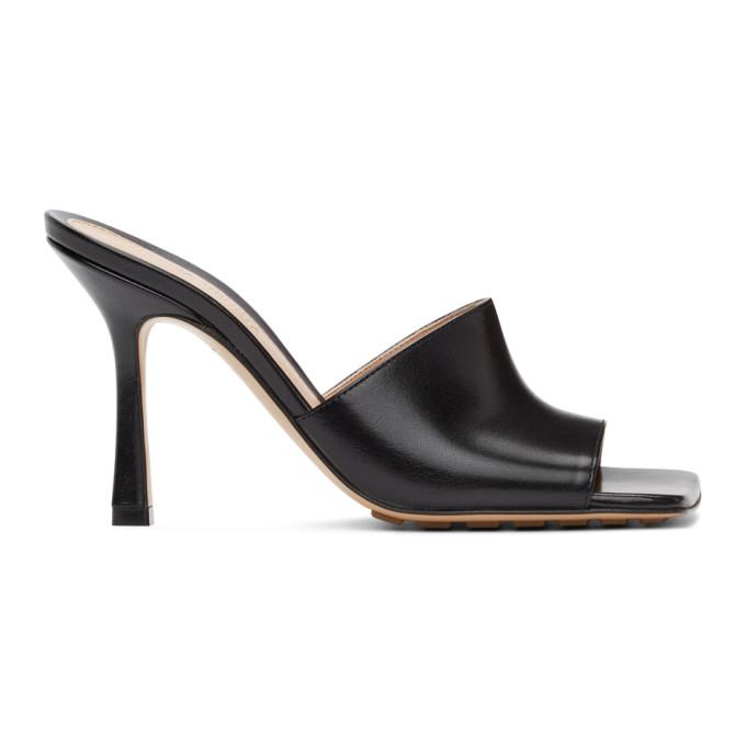 Bottega Veneta Rubber Sole Leather Stretch Mule Sandal Black In 1000 Black